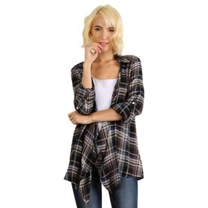 💙 Hem & Thread | Lace Back Drape Plaid Cardigan L